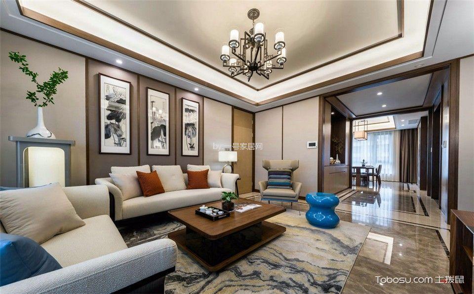 褐石街区118平新中式风格三居室装修效果图