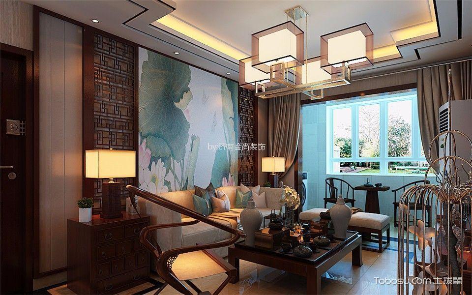 中式风格115平米三室两厅新房装修效果图