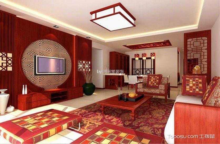 110平方中式风格二居室装修效果图