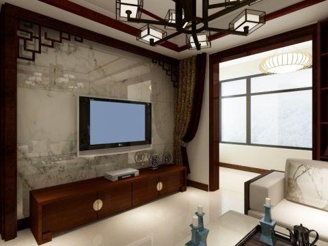 100平中式风格二居室装修效果图