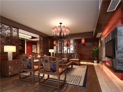 保利国际香槟135平米中式风格四居室装修效果图