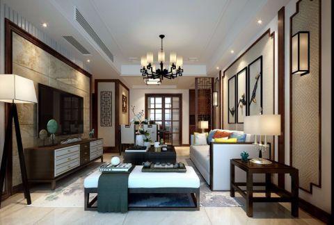 中南世纪雅苑90平新中式风格三居室装修效果图