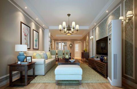 中铁青秀城124平美式风格三居室装修效果图