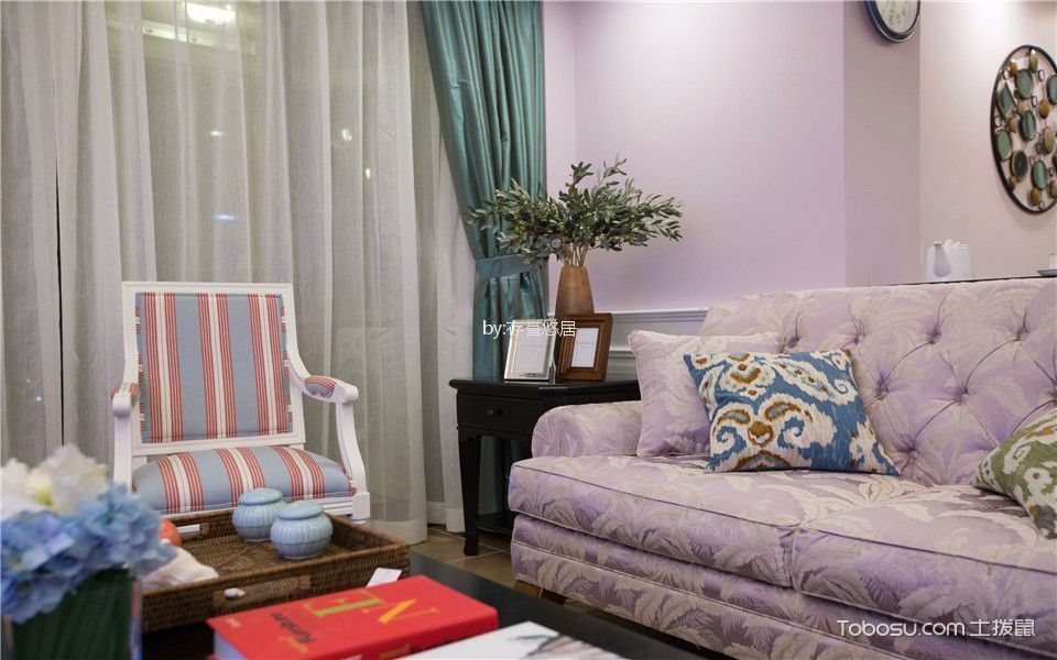 客厅粉色细节美式风格装潢图片