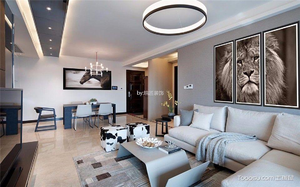 北城明珠120平现代简约三居室装修效果图