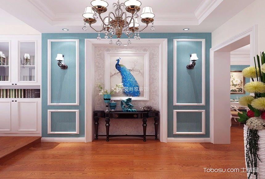 客厅蓝色背景墙美式风格装潢效果图
