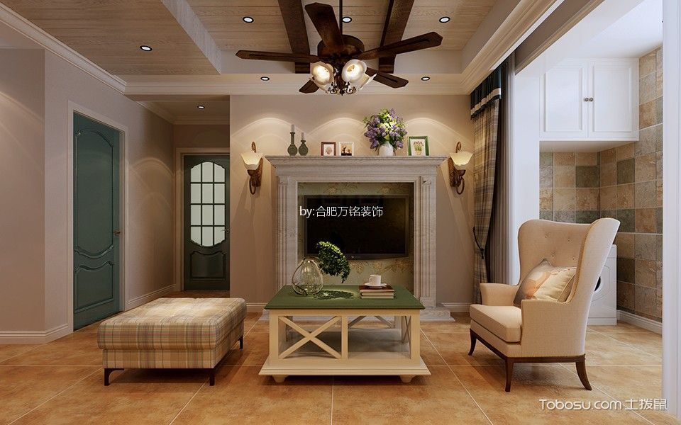 客厅黄色细节美式风格装饰效果图
