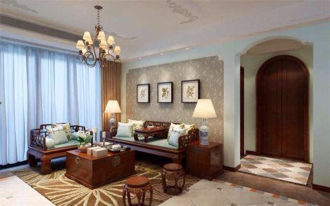 金地丽景90平新中式风格三居室装修效果图