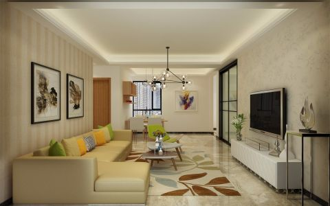 星星凯旋国际90平方现代简约风格三居室装修效果图