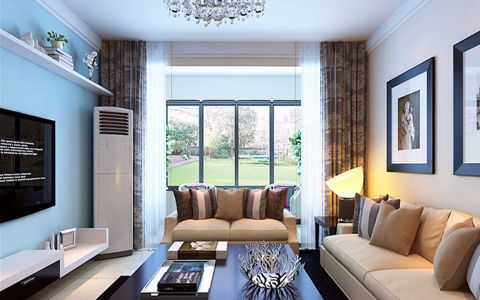 客厅窗帘简约风格装潢效果图