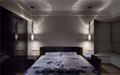 卧室床现代中式风格装潢设计图片
