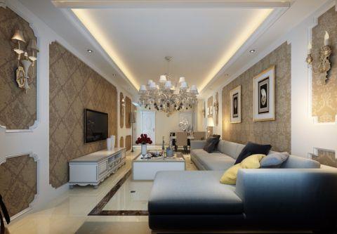 浦江御景湾121平欧式风格三居室装修效果图