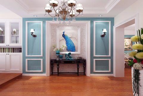 浪漫美式蓝色背景墙设计图