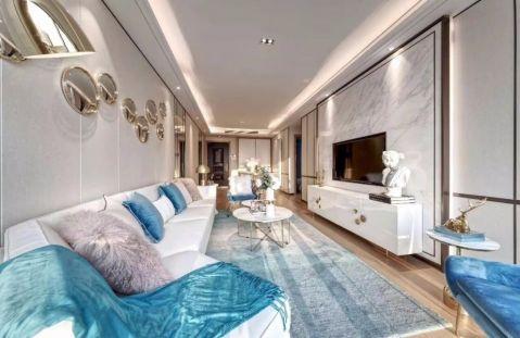 客厅蓝色照片墙简约风格装潢图片