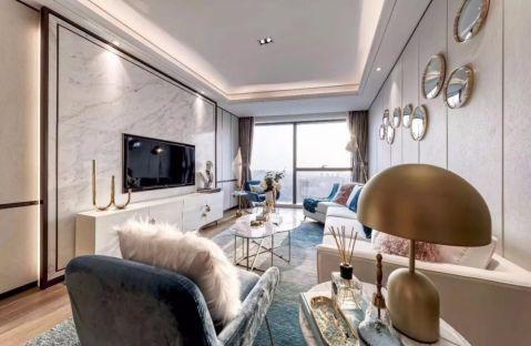 客厅白色背景墙简约风格装饰图片