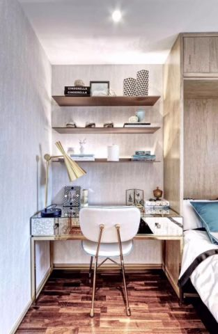 卧室白色博古架简约风格装潢设计图片