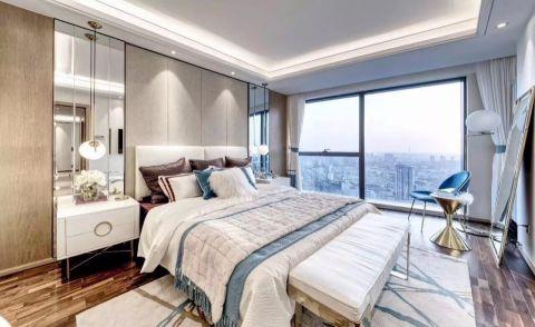卧室白色窗帘简约风格效果图