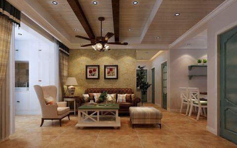 90平米美式乡村风格三居室装修效果图