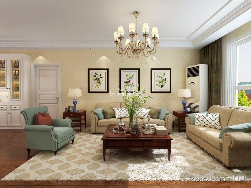 保利香槟广场90平方简欧风格二居室装修效果图