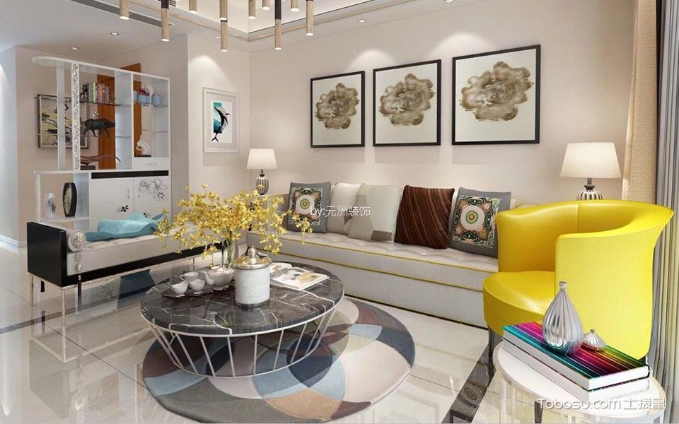 客厅彩色细节现代风格装修图片
