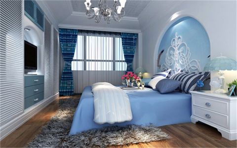 卧室背景墙地中海风格装修效果图