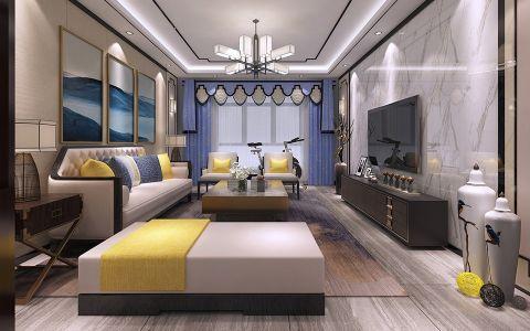 扬州天下100平新中式风格三居室装修效果图
