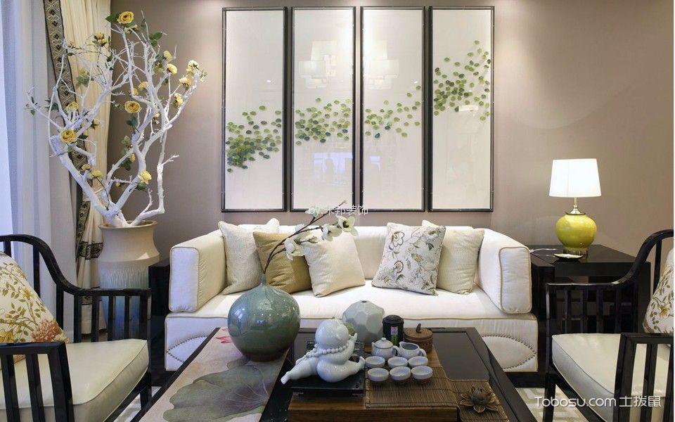 万达中央华城120平米新中式风格三居室装修效果图