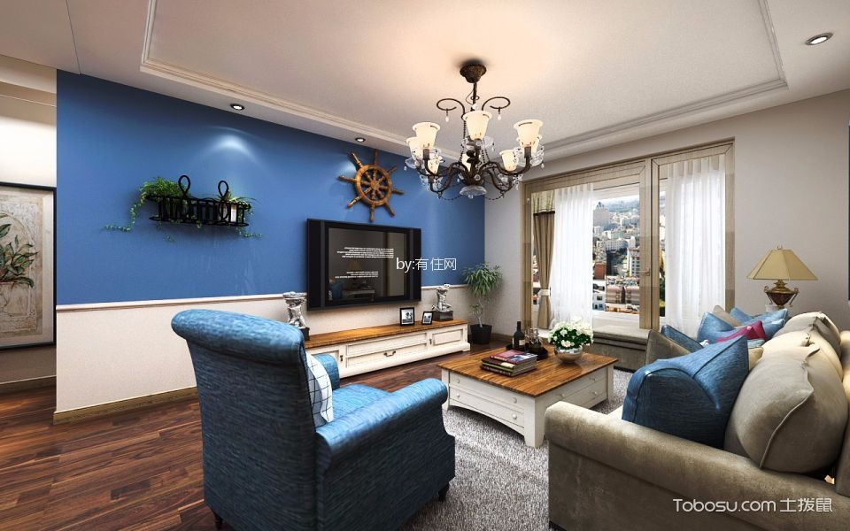 客厅蓝色细节混搭风格装饰图片