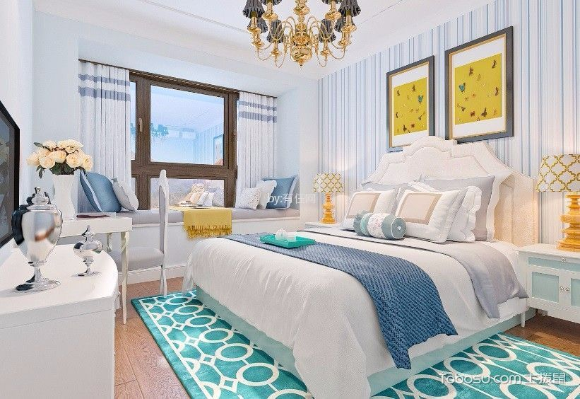 卧室白色细节混搭风格装潢设计图片