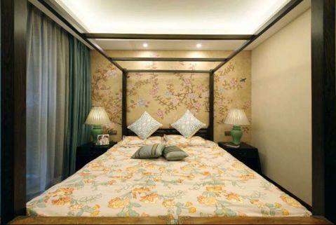 卧室背景墙新中式风格装饰图片