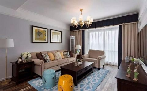 金地自在城140平美式风格三居室装修效果图