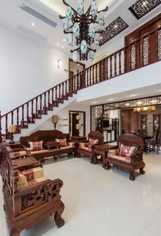 客厅楼梯中式古典风格装潢效果图