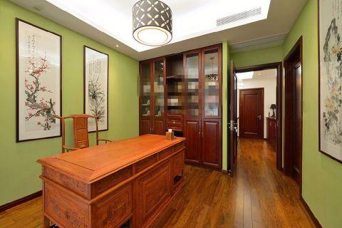 书房背景墙现代中式风格装潢效果图