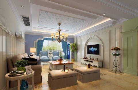 客厅彩色吊顶简欧风格装饰图片
