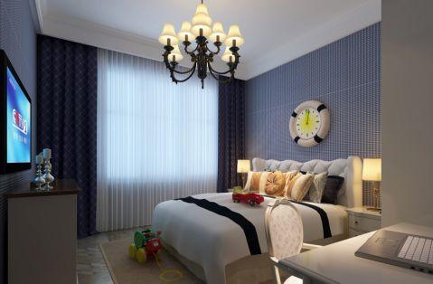 卧室蓝色窗帘简欧风格效果图