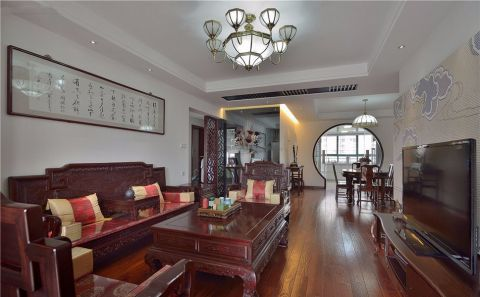 120平米中式古典风格三居室装修效果图