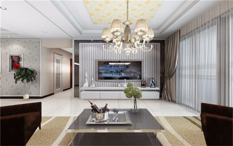 客厅米色背景墙现代风格装饰图片