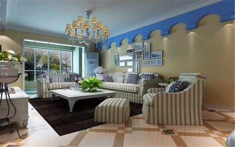 客厅黄色背景墙地中海风格装潢效果图
