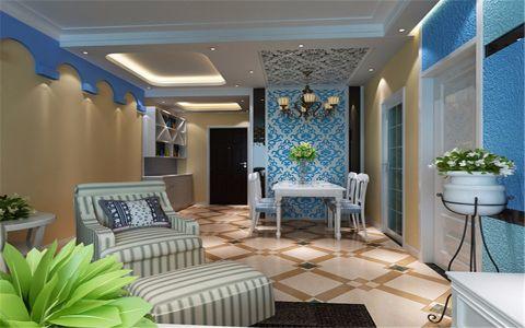 客厅黄色背景墙地中海风格装修图片