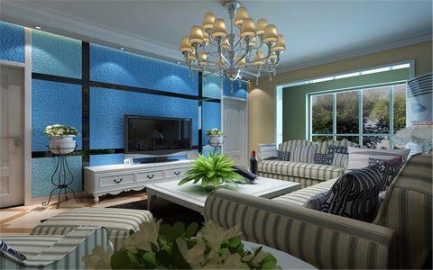客厅蓝色背景墙地中海风格装饰图片