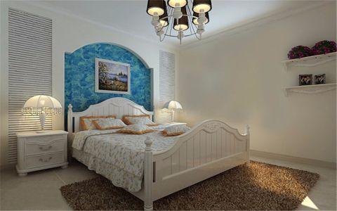 卧室蓝色背景墙地中海风格装潢图片