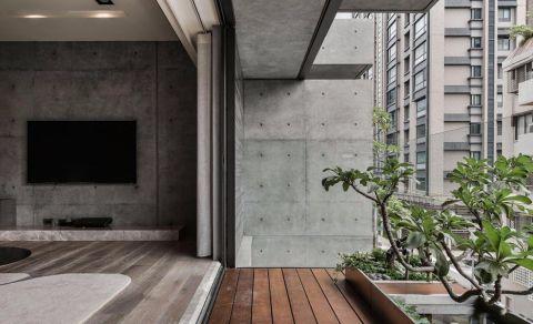 阳台咖啡色地板砖简欧风格装潢设计图片