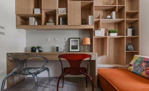 书房咖啡色博古架简欧风格装修效果图
