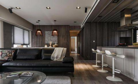 客厅灰色吧台简欧风格装潢图片