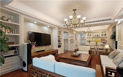 客厅米色背景墙美式风格装饰效果图