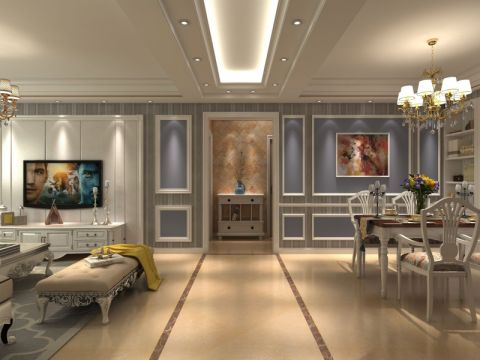 远大尚林苑91平米简欧风格三居室装修效果图