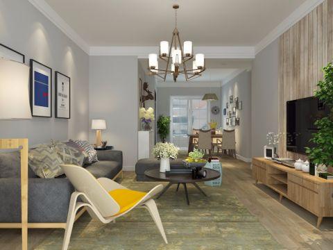 翠湖山庄小区110平清新北欧风格三居室装修效果图