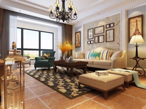 景豪花园小区180平美式风格三居室装修效果图