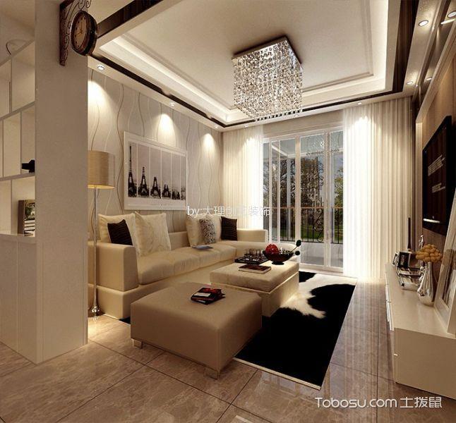 客厅米色细节简约风格装潢设计图片