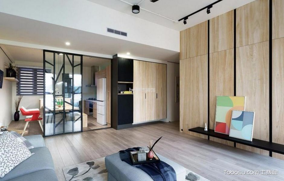 客厅 隔断_杭州88平简约风格三居室装修效果图